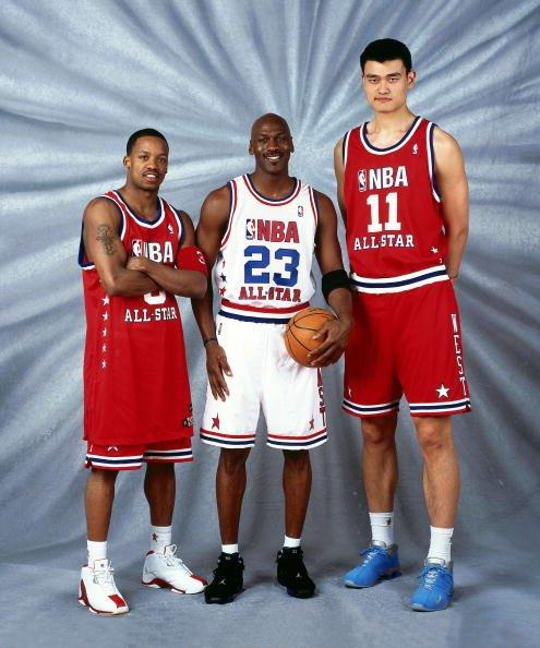 姚明第一次与乔丹最后一次全明星赛 2003 NBA All Star Game