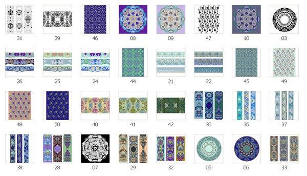 图案包括单独纹样,二方连续纹样,四方连续纹样等.