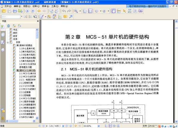 目录: 第1章 单片机概述 第2章 MCS-51单片机的硬件结构 第3章 MCS-51单片机指令系统 第4章 MCS-51的中断系统 第5章 MCS-51的定时器/计数器 第6章 MCS-51的串行口 第7章 MCS-51扩展存储器的设计 第8章 MCS-51的I/O接口扩展 第9章 MCS-51与键盘、显示器、拨盘、打印机的接口设计 第10章 MCS-51与D/A、A/D的接口 第11章 MCS-51的功率接口 第12章 MCS-51的串行通讯接口技术 第13章 MCS-51的其他扩展接口及实用电路 第